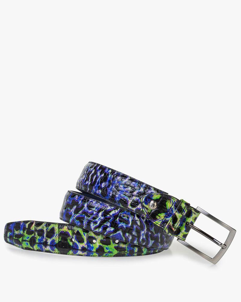 Blauer Premium Gürtel mit Krokoprint