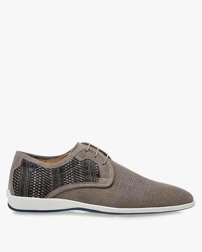 Lace shoe suede leather light grey
