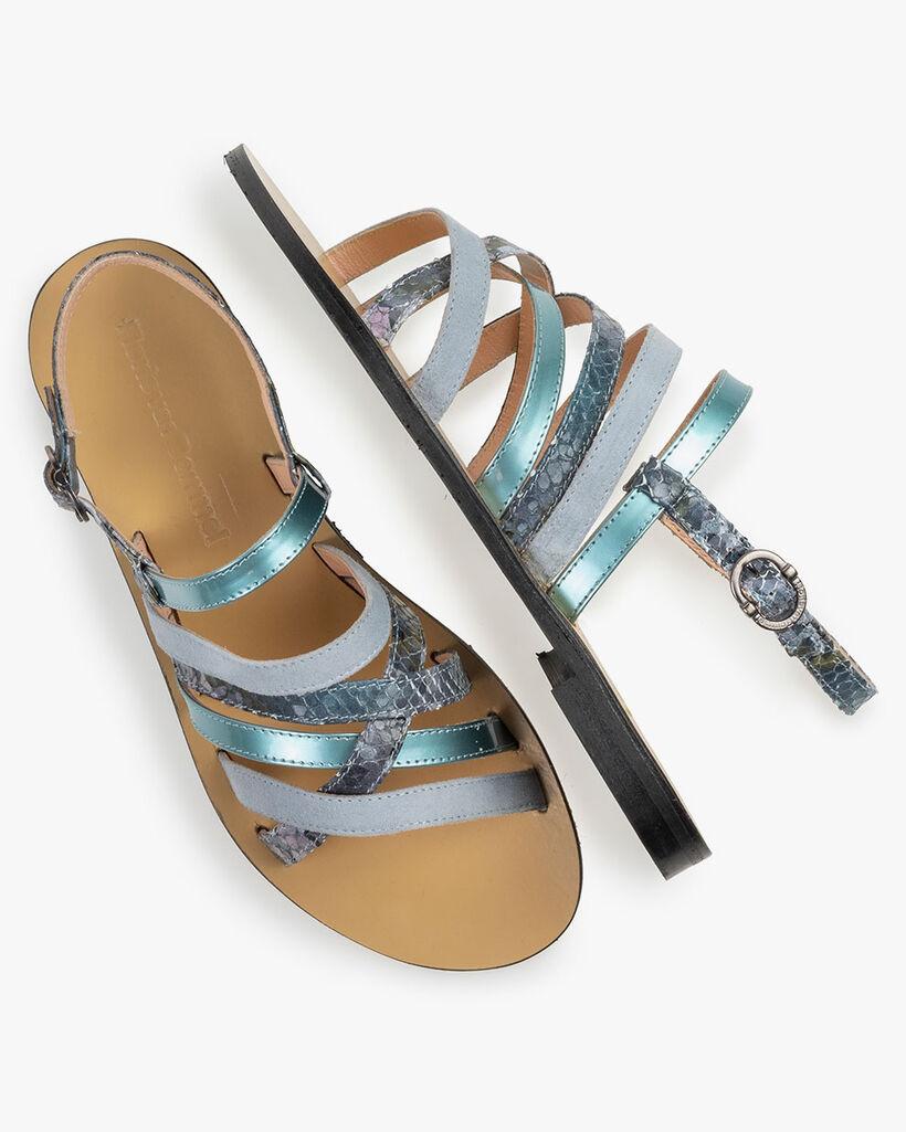 Sandal printed leather blue