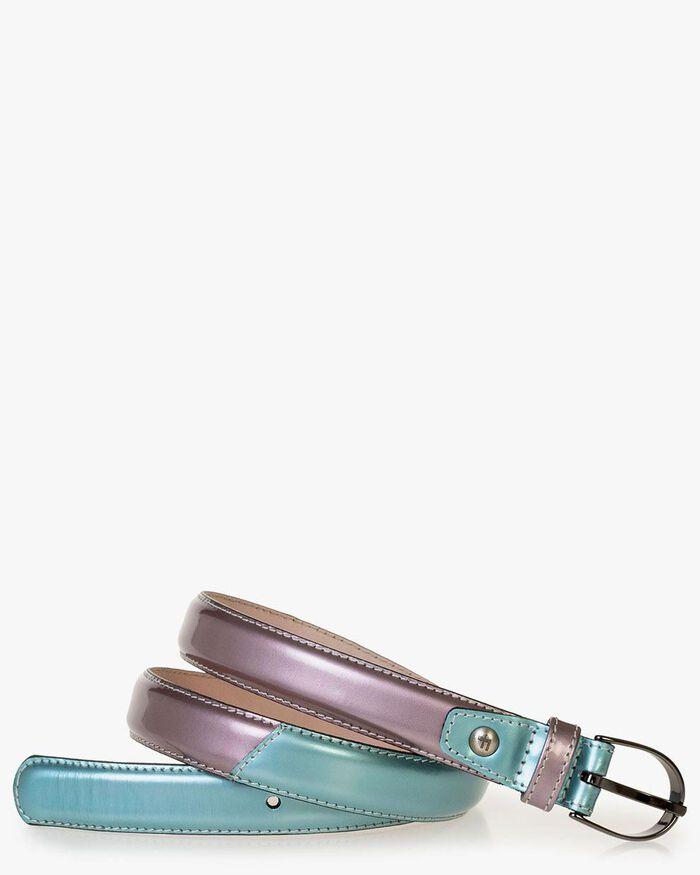 Belt patent leather light blue