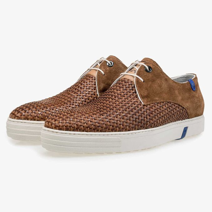 Cognac-coloured braided calf suede leather lace shoe