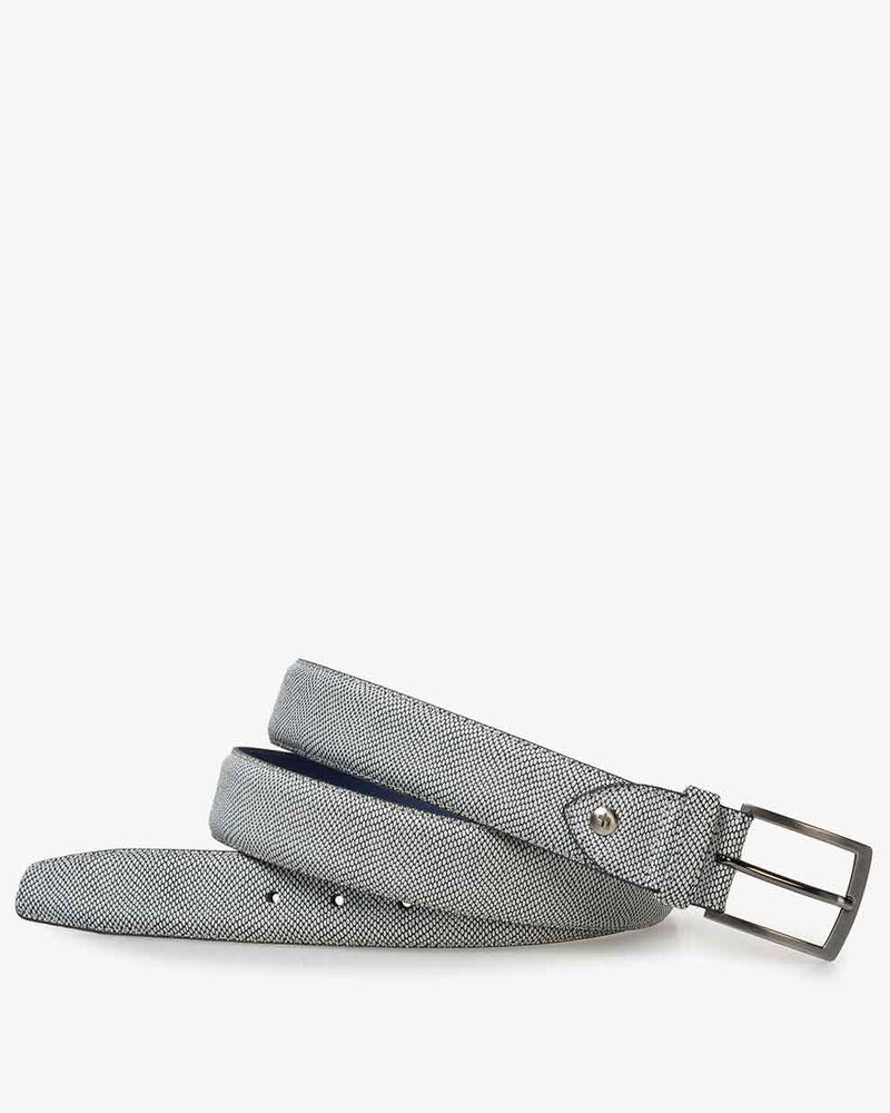 Belt printed suede leather white