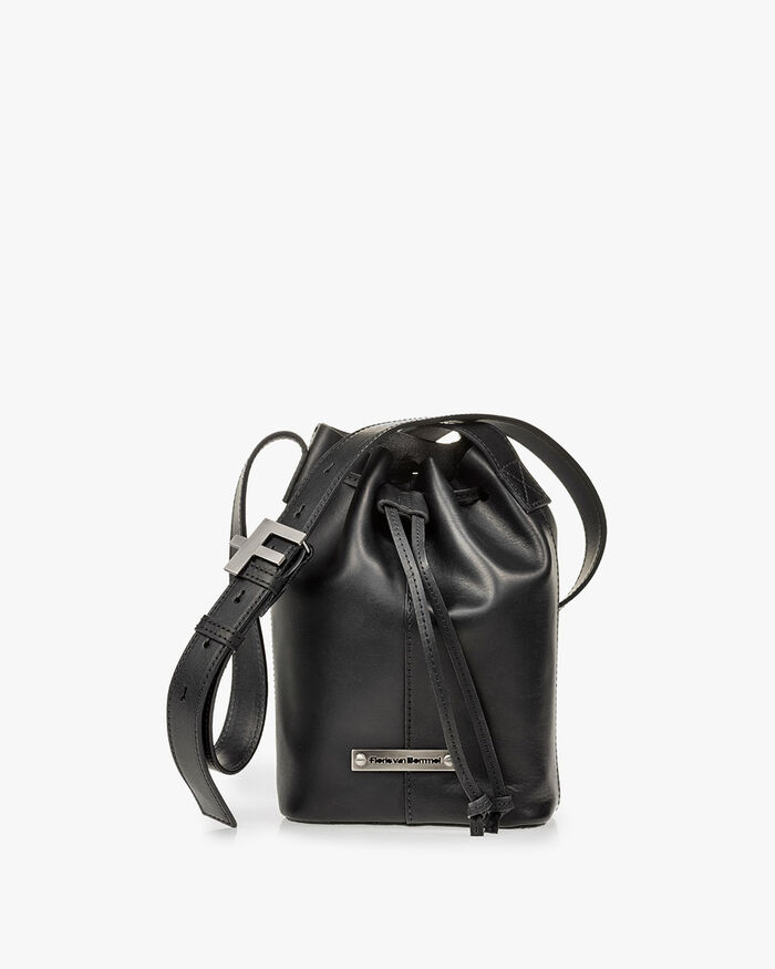 Bucket bag calf leather black