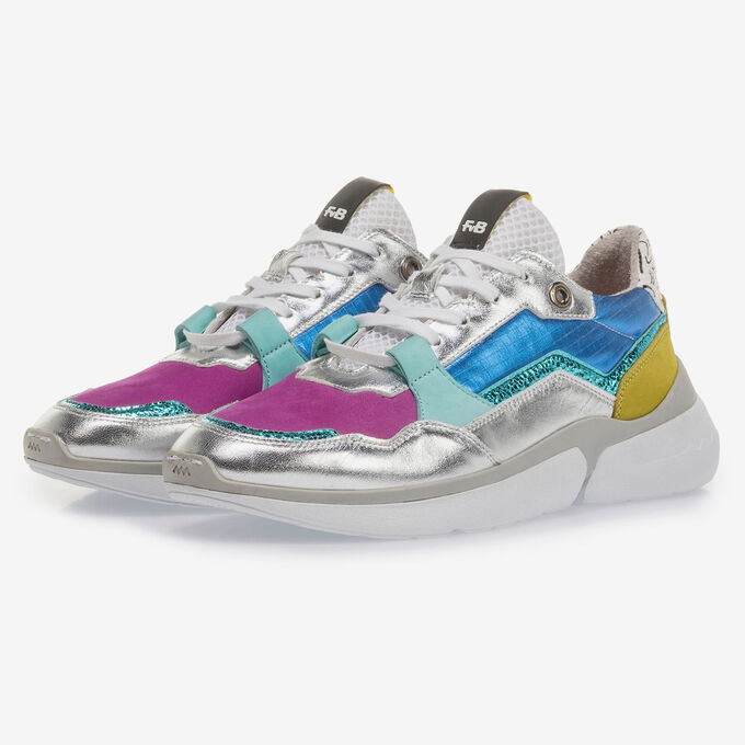 Multi-colour leather sneaker