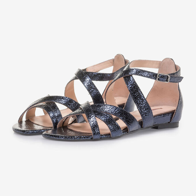 Dunkelblaue Sandale mit Metallic-Print