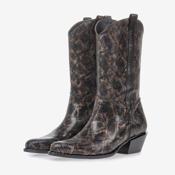 Western boot croco print copper