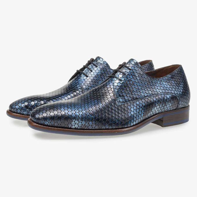 Blauer Metallicprint Leder-Schnürschuh