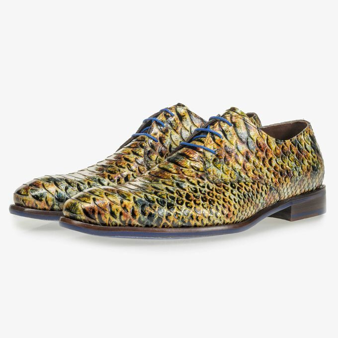 Yellow and brown patent leather snake print lace shoe