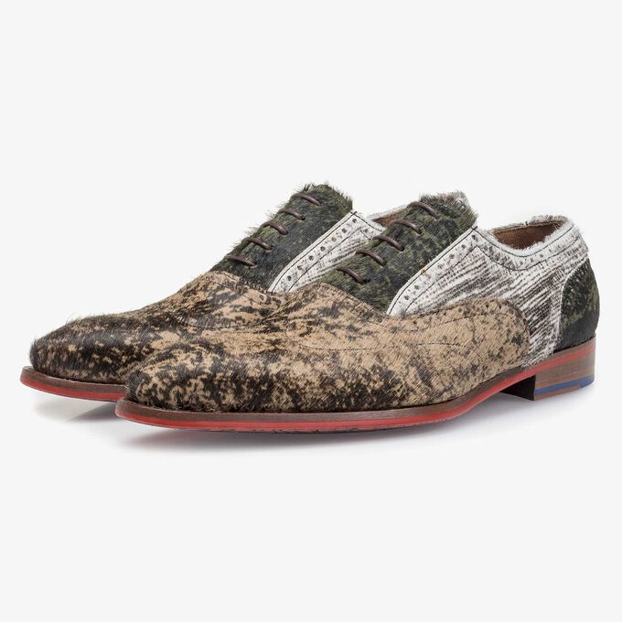 Brown premium lace shoe with print