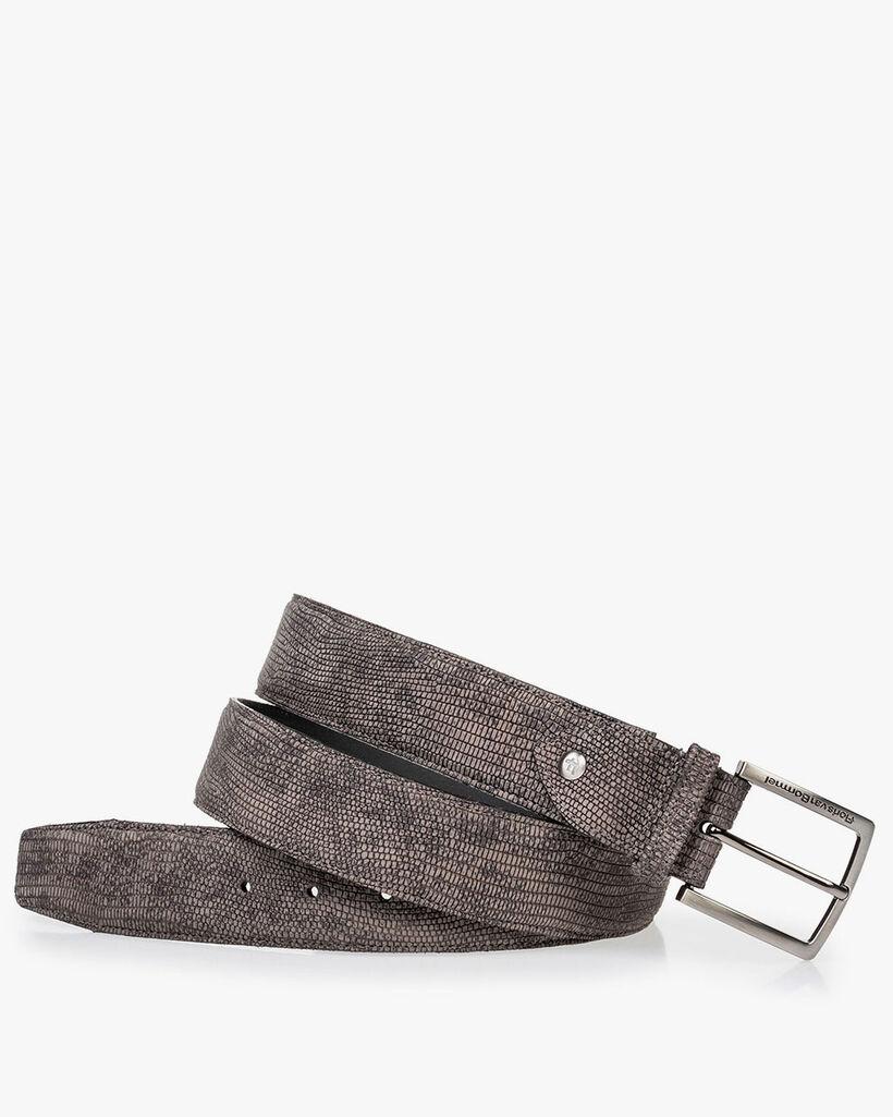 Belt reptile print grey