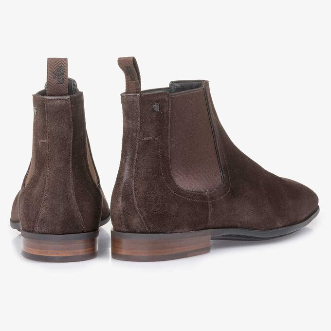 Dark brown waxed suede leather Chelsea boot