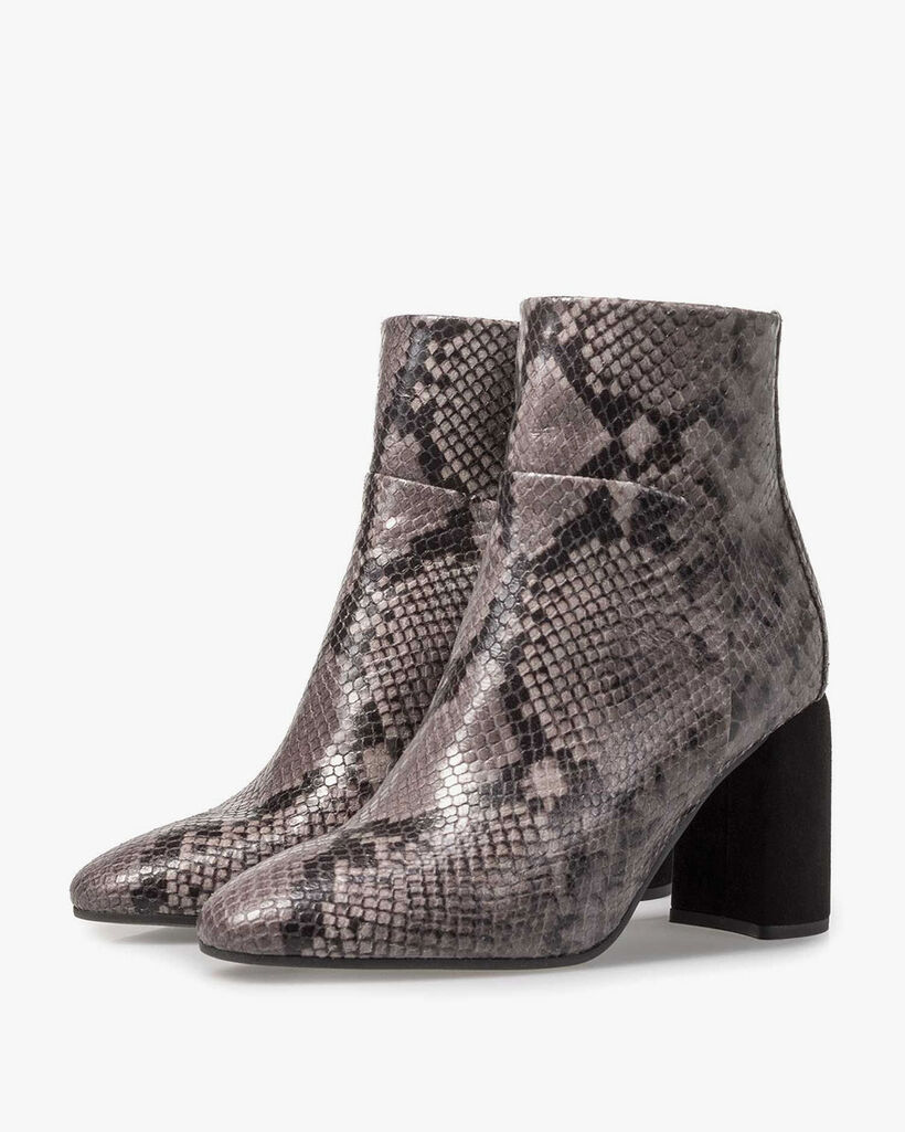 Grey ankle boot snake print