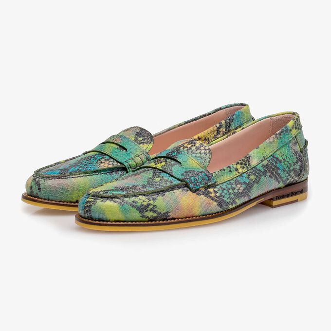 Green snake print leather loafer