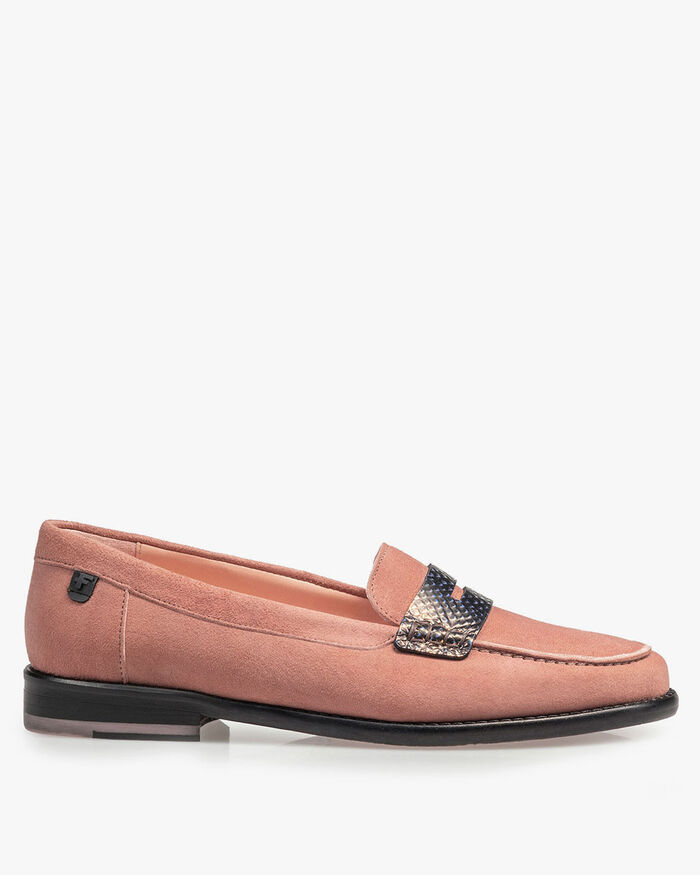 Rosa Wildleder-Loafer