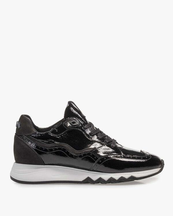 Black patent leather sneaker