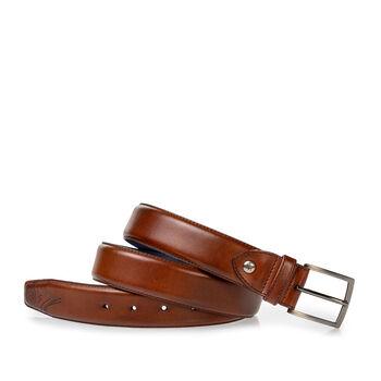 Belt calf leather dark cognac
