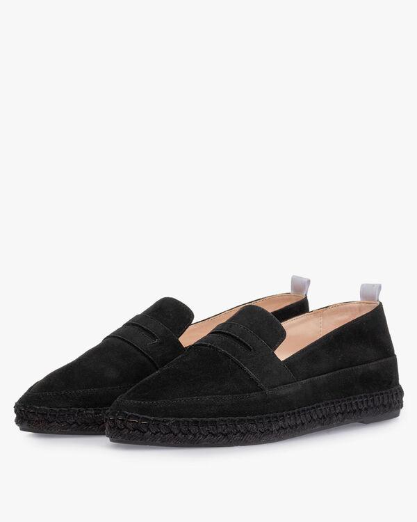 Espadrille suede leather black