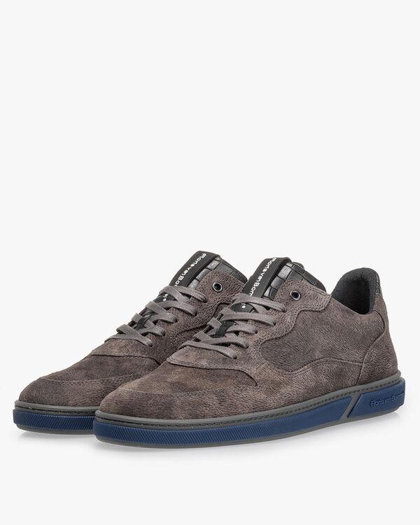 Sneaker Leder-Print dunkelgrau