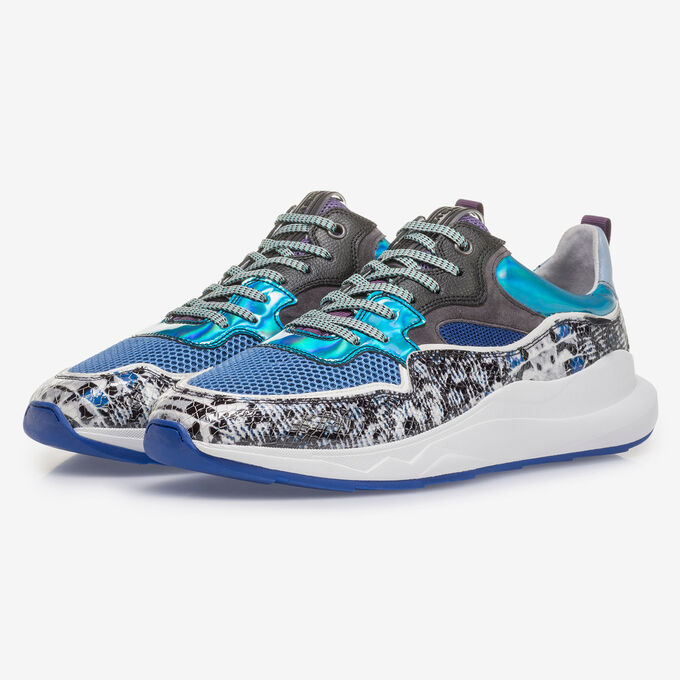 Multi-colour sneaker with grey and blue print