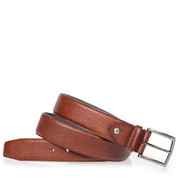 Leather belt cognac with structured pattern