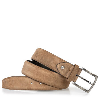 Suede leather belt cognac