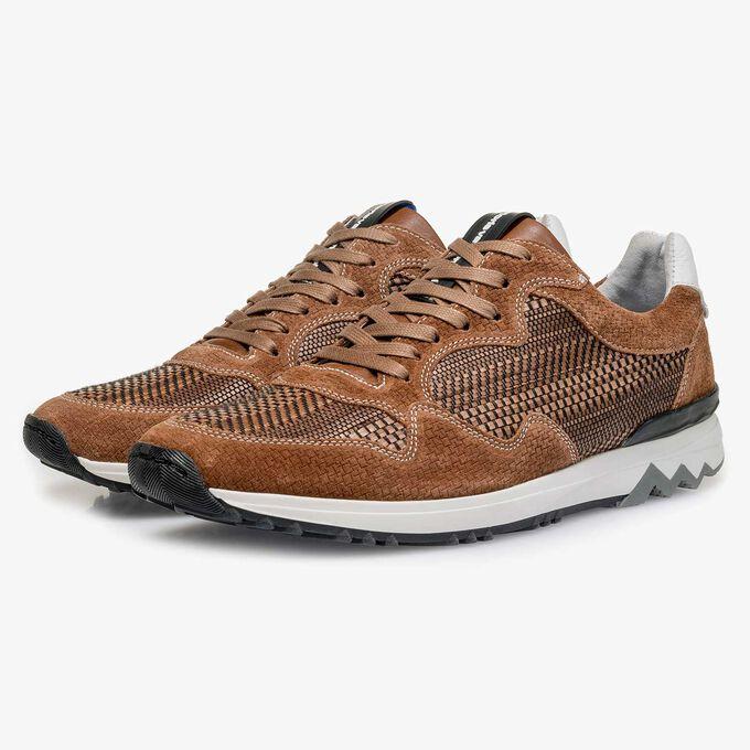 Cognac Wildleder-Sneaker mit Muster
