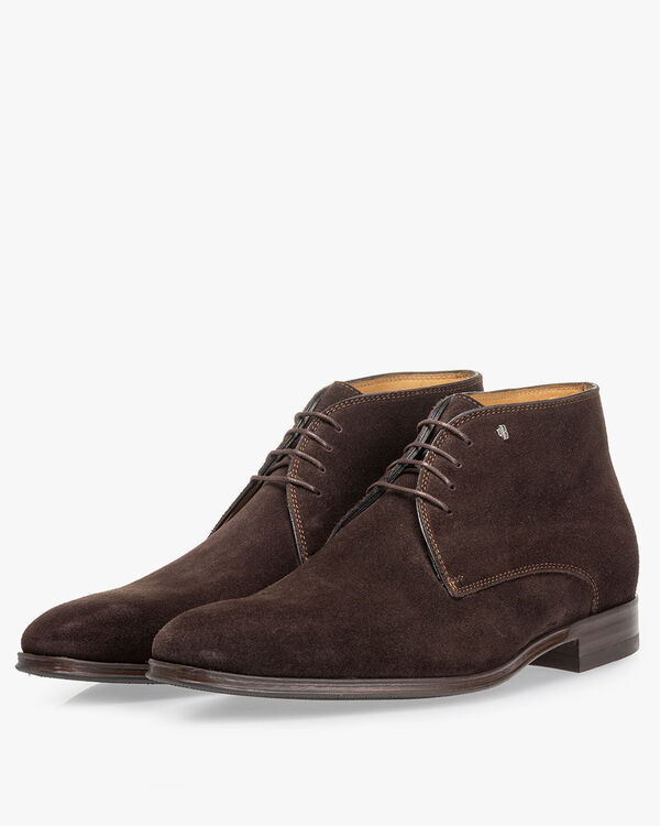 Lace boot suede dark brown