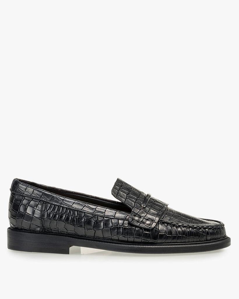 Loafer Reptilienprint schwarz