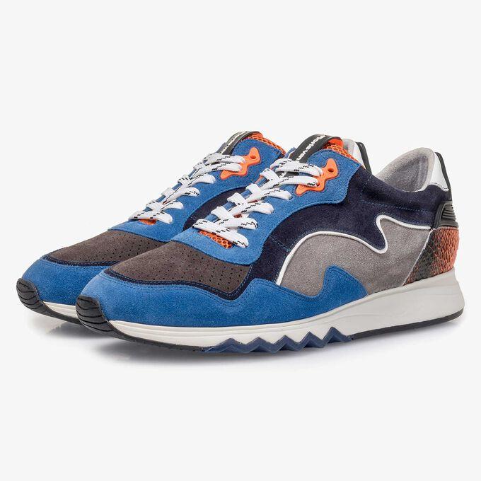 Blau-oranger Wildleder-Sneaker
