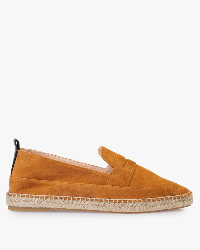 Espadrille suede leather cognac