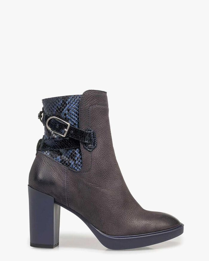Dark blue nubuck leather ankle boots