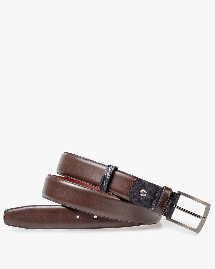 Belt calf leather dark brown