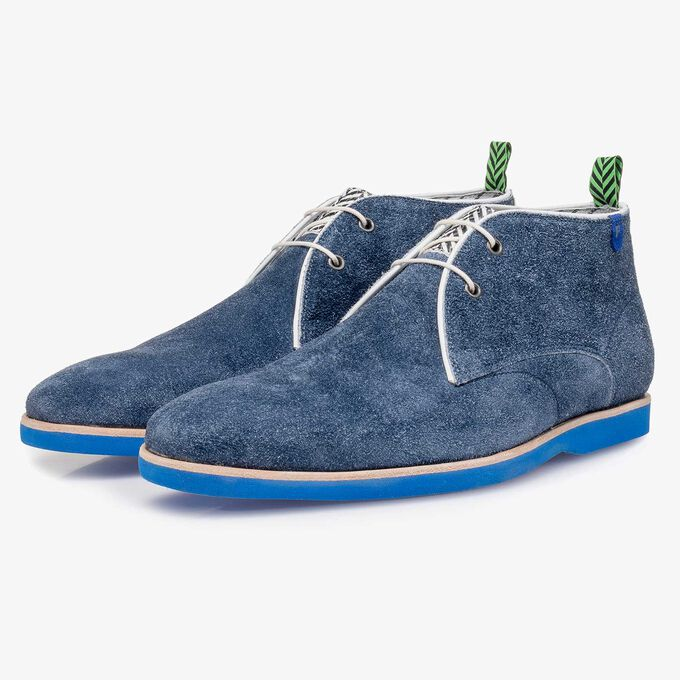 Blue rough suede leather lace boot