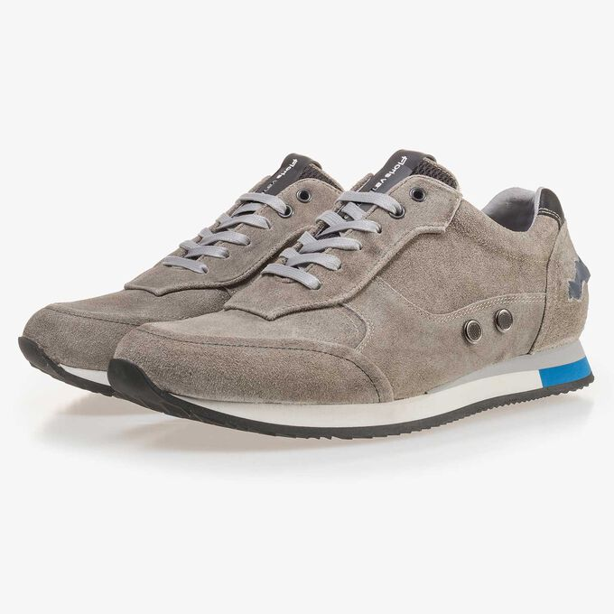Olive green suede leather sneaker