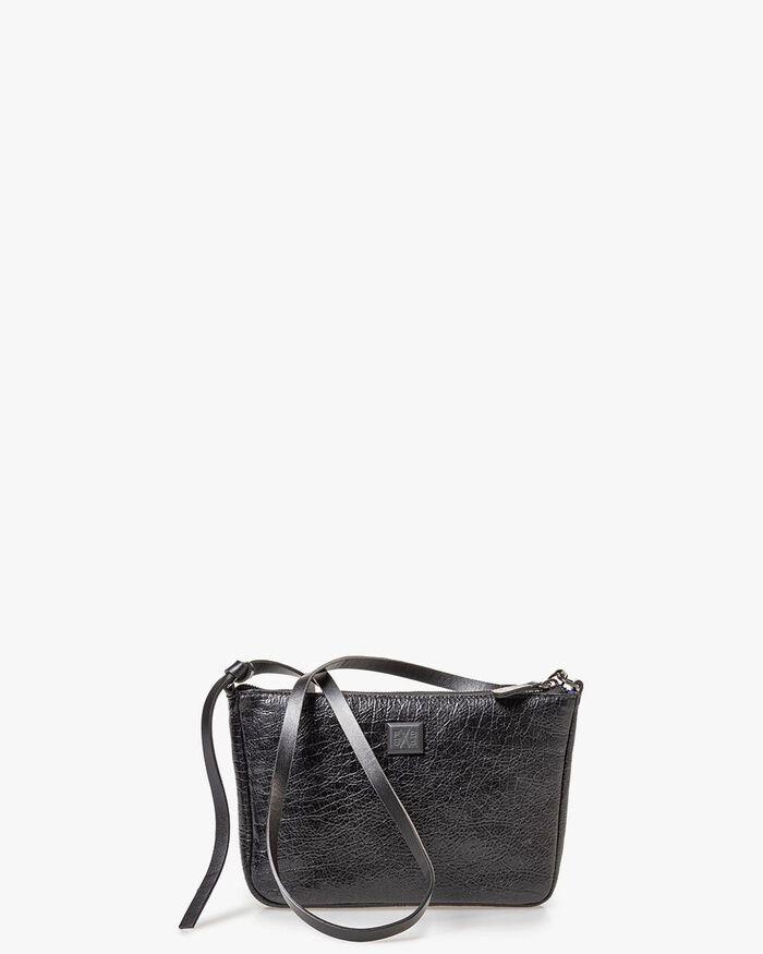 Tasche schwarz Leder Craquelé