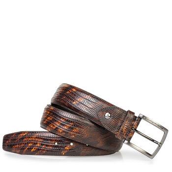 Leather belt lizard print dark cognac