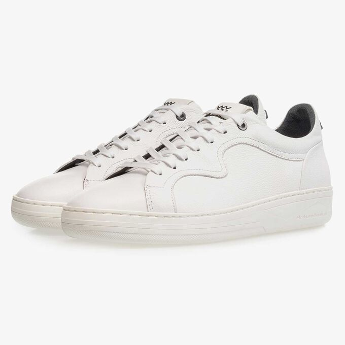 Premium white calf leather sneaker with a subtle structural pattern