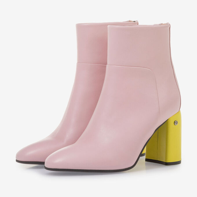 Light pink nappa leather ankle boots