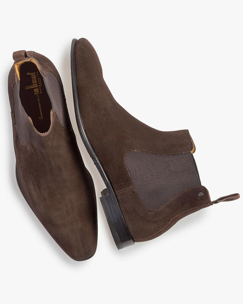 Dark brown suede leather Chelsea boot