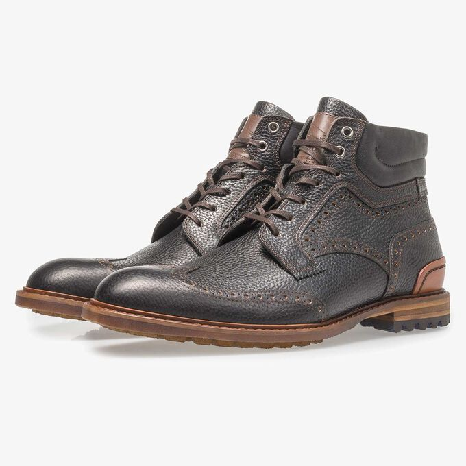Black leather lace boot with print