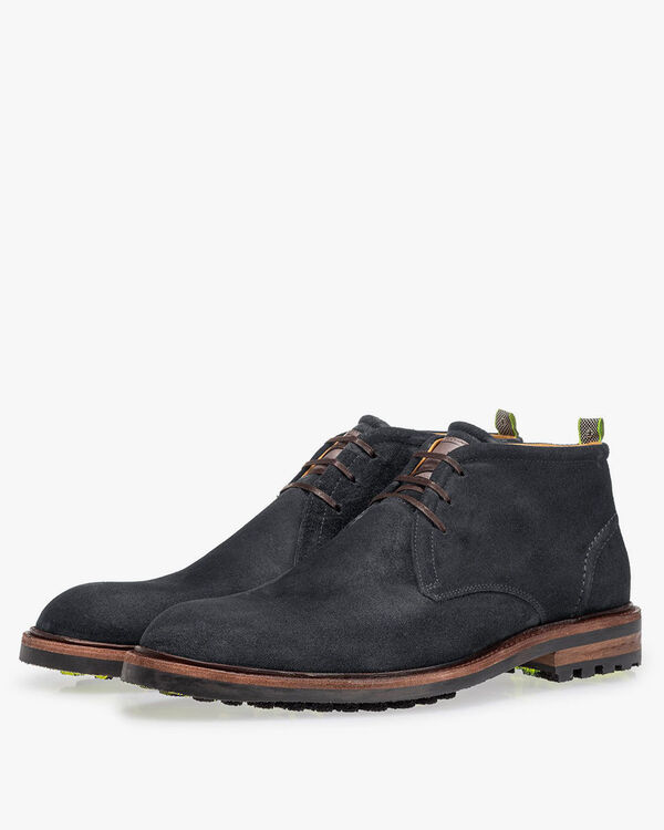 Lace boot suede leather black