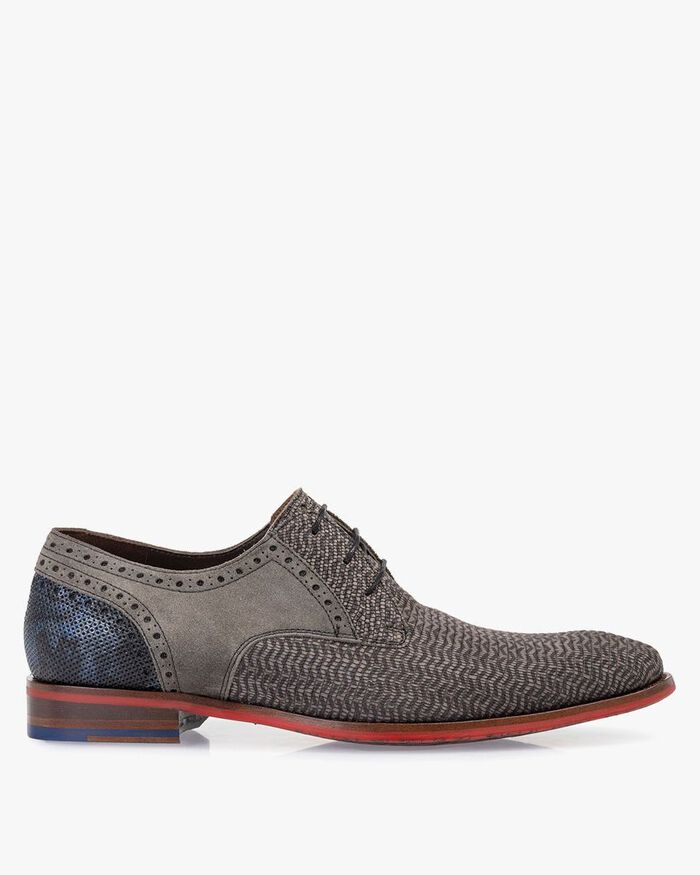 Lace shoe nubuck leather taupe