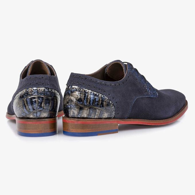 Blue printed suede leather lace shoe
