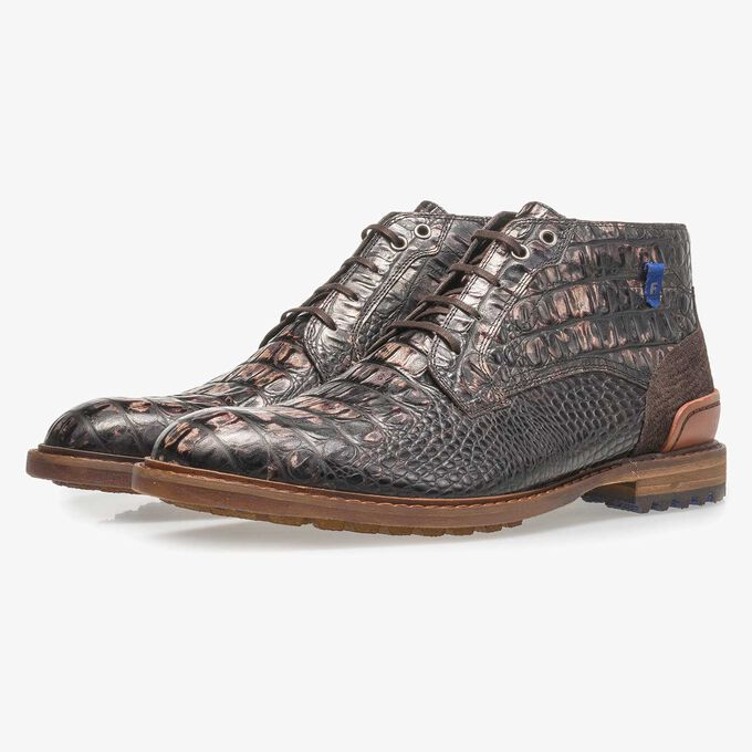 Dark brown leather lace boot with croco print