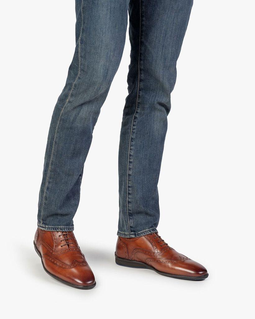 Lace shoe calf leather cognac