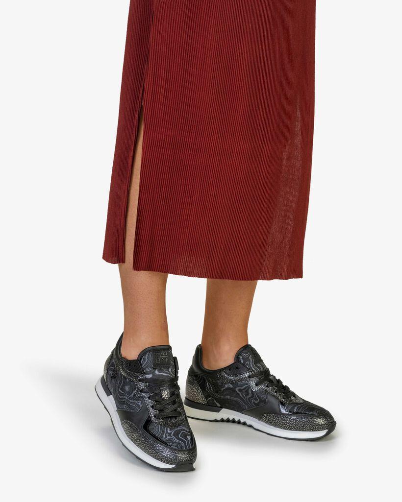 Sneaker Leder silber