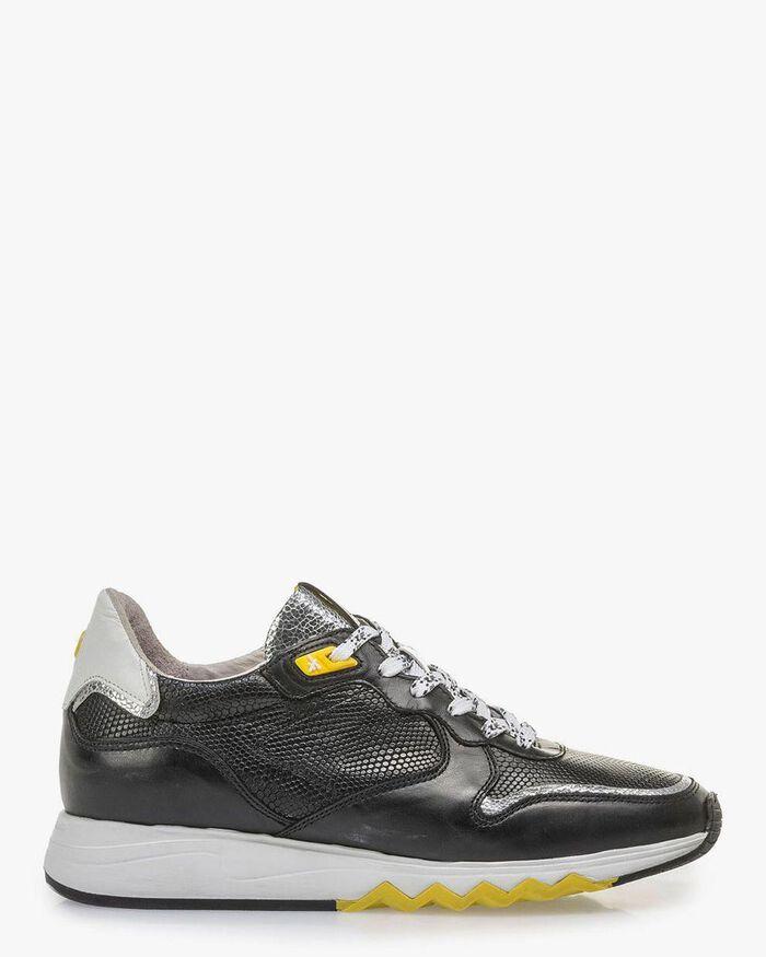 Schwarzer Kalbsleder-Sneaker