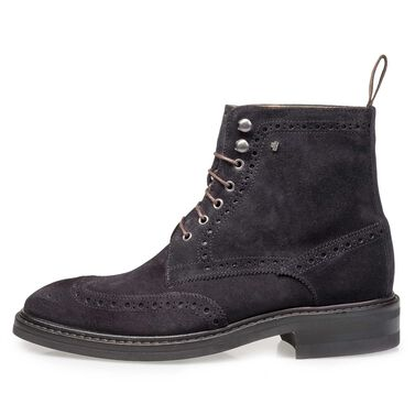 Leather brogue lace boot