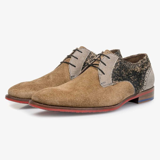 Brown rough suede leather lace shoe