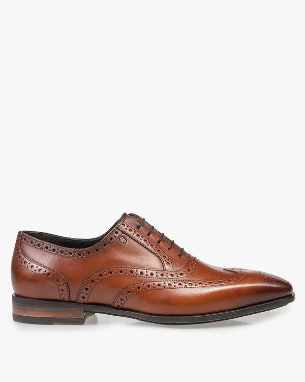 Cognac-coloured calf leather brogue